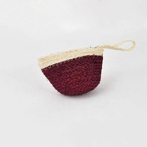 【Mi-Pin】西沙爾麻手工編織零錢包【手創包】酒紅色
