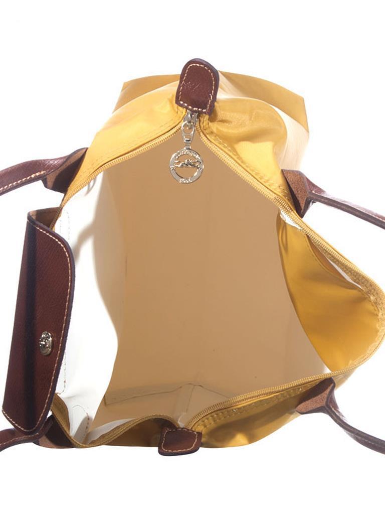[2605-S號]國外Outlet代購正品 法國巴黎 Longchamp  長柄 購物袋防水尼龍手提肩背水餃包 姜黃色 3