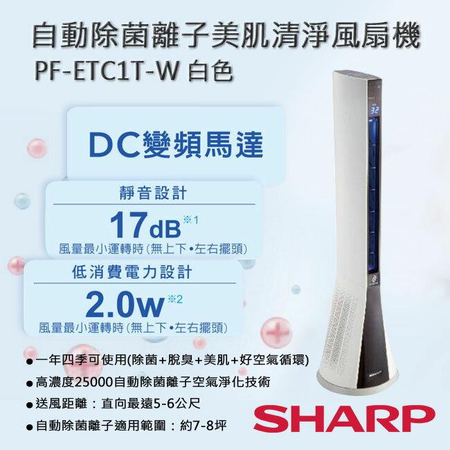SHARP夏普 自動除菌離子美肌清淨風扇機 PF-ETC1T-W 白色