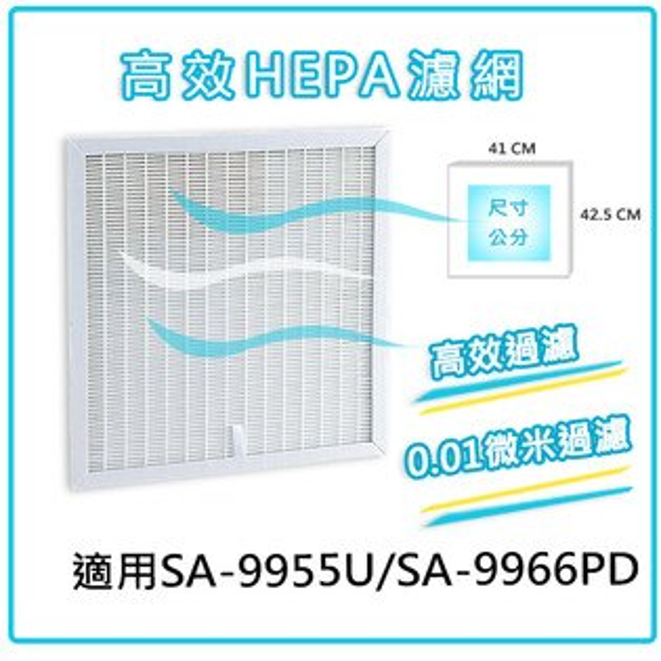 尚朋堂SA-9955U/SA-9966PD空氣清靜機專用HEPA濾網SA-630 1入