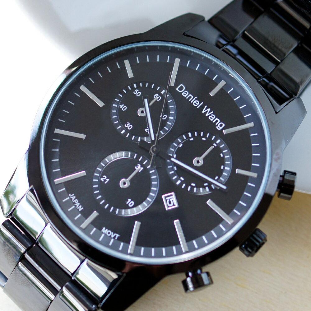 Daniel Wang 3136-IP 霸氣大錶面經典三眼石英黑框金屬男錶 0
