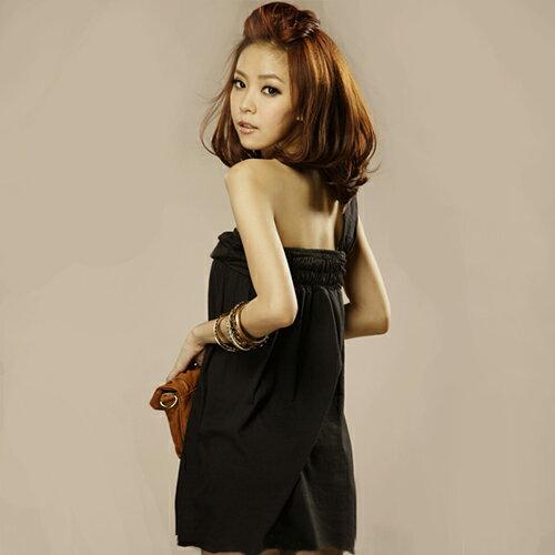 短洋裝-韓版性感單邊露肩洋裝【29054】藍色巴黎《2色》現貨+預購 1