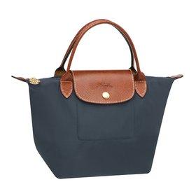 [短柄S號]國外Outlet代購正品 法國巴黎 Longchamp [1621-S號] 短柄 購物袋防水尼龍手提肩背水餃包 石墨灰 0
