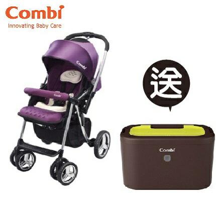 【本月贈市價$1980濕紙巾保溫器】日本【Combi】Mega Ride DX 嬰兒手推車-紫(1~48個月)(預購11月中到貨) 0