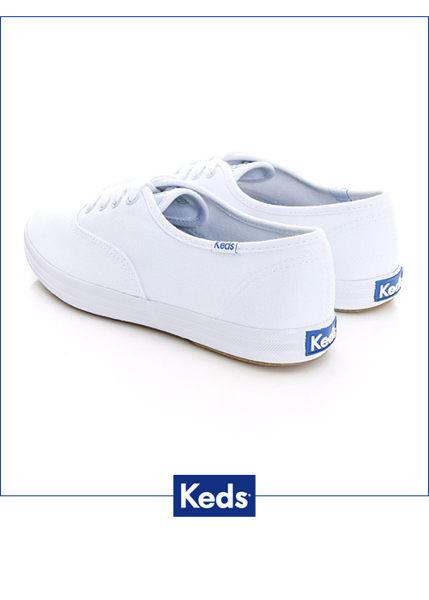 Keds 經典長青帆布鞋(寬楦)-白 白鞋││綁帶│平底鞋 1