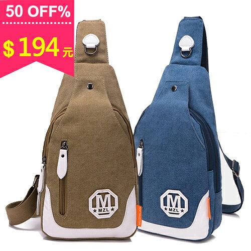M字母幾何英倫復古帆布胸包 中性包  戶外出行包 斜背包 包飾衣院 J1077 現貨+預購