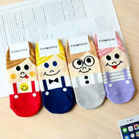 韓國 可愛Q版大眼女孩吊帶褲短襪 男孩 笑臉 吐舌 短襪 襪子 造型襪 流行襪【N201379】