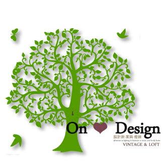 On ♥ Design ❀tree clock 大樹 森林時鐘 掛鐘 金屬壁鐘 (我不是複刻版)-綠