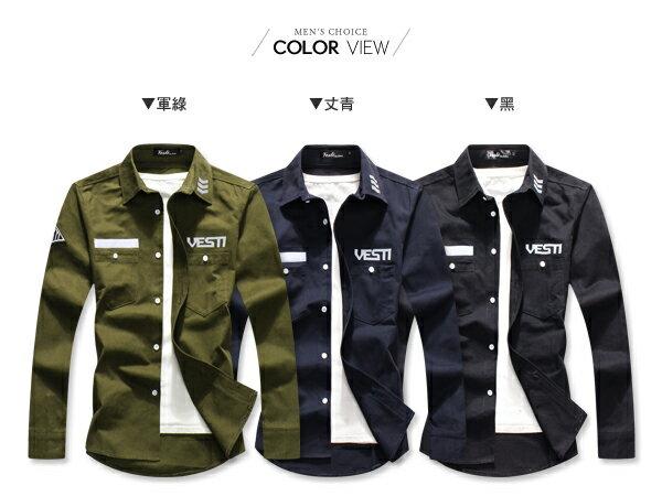 ☆BOY-2☆【PPK87017】VESTI 美式電繡修身軍裝襯衫 2