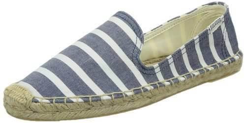 【Soludos】美國經典草編鞋-藍白條紋
