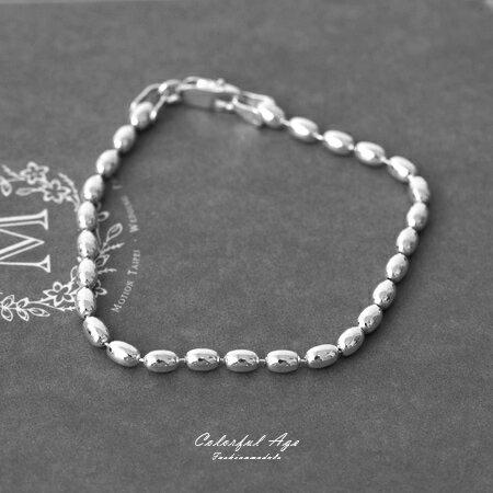 925純銀手鍊 個性橢圓珠鍊手環 氣質出眾典雅的氣息 珠珠整齊排列 柒彩年代【NPA16】 0