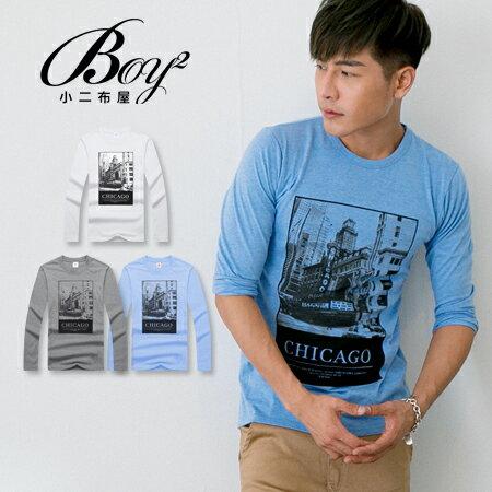 ☆BOY-2☆【PPK86136】美式潮流芝加哥黑白印花長T 0