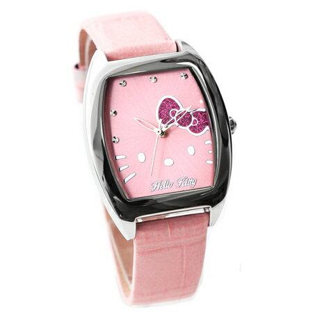 Hello Kitty凱蒂貓 亮粉蝴蝶結酒桶腕錶 俏皮可愛 真皮錶帶 原廠 柒彩年代【NE1640】HK610LWPP 0