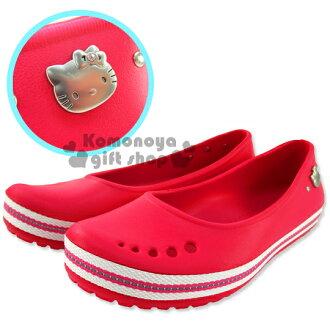 〔小禮堂〕Hello Kitty 休閒娃娃鞋《桃紅.成人尺寸.白底邊》輕量無負擔