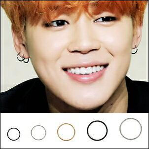 BTS Jimin 同款韓國심플시크簡約鈦鋼細圈耳環 (單只價)