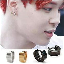 防彈少年團 BTS V Jimin 同款韓國미니볼드원터치 簡約扣式寬面鈦鋼圓環耳環 (單只價)