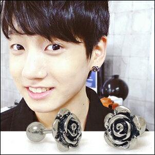 BTS 防彈少年團 Jung Kook 田柾國 同款韓國페어스復古玫瑰造型耳環 (單只價)