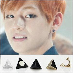 BTS 防彈少年團 V  同款韓國탑삼각블랙홀小三角金字塔造型磁鐵耳環 *無耳洞適用 (單只價)