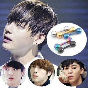 BTS Jung Kook  V  Jin  Jimin 同款韓國심플볼雙頭圓珠啞鈴耳骨穿刺耳環 (單支價)