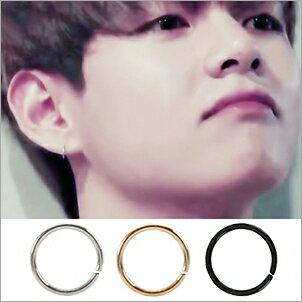 【 特價 】BTS V 金泰亨 同款韓國누디簡約鈦鋼細圈耳環 (單只價)