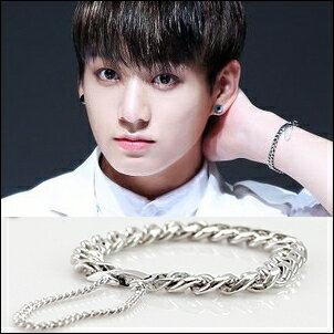 BTS 防彈少年團 全柾國 同款時尚扁環銀懸手鏈手環