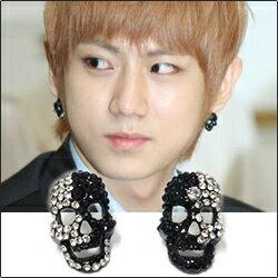 【特價】BEAST 賢勝  同款黑白面具全鑽耳釘耳環 (單支價)