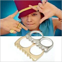 【特價】BIGBANG 權志龍 同款鋸齒雙指環戒指