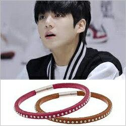 BTS Jung Kook 同款細圓釘輕薄皮革手環