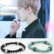 | Star World。Bracelets | EXO 吳世勳  鹿晗 同款簡約別緻骷髏瑪瑙串珠彈力手環手鍊