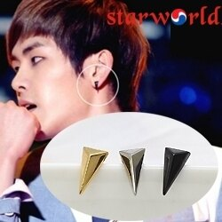   Star World。Earring    INFINITE Hoya 同款長三角鉚釘耳釘耳環 (單支價)