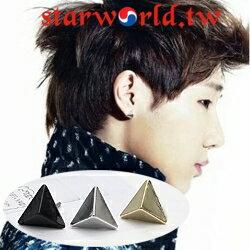 | Star World。Earring | INFINITE 優鉉 聖圭 成烈 同款小三角金字塔造型耳釘耳環 (單支價)