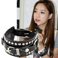 | Star World。Bracelets | T-ara 朴素妍 含恩静 朴孝敏 同款圓環鉚釘皮帶型皮革手環