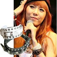 | Star World。Bracelets | 4minute 泫雅 同款圓環鉚釘皮帶型皮革手環