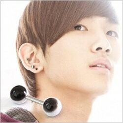 | Star World。Piercing |  SHINee Key 鐘鉉 同款雙頭圓珠黑底白條紋啞鈴款穿刺耳環 (單支價)