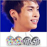 | Star World。Earring | SHINee 鐘鉉 同款馬賽克圓耳釘耳環 (單支價)
