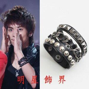 | Star World。Bracelets |  SHINee 溫流 泰民 鐘鉉 舞台配件復古高層次龐克三層鉚釘帶鏈皮革手環