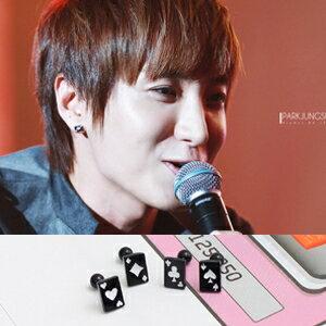 | Star World。Piercing |  Super Junior 李特 利特 同款個性迷你方形撲克花紋穿刺耳環 (單支價)
