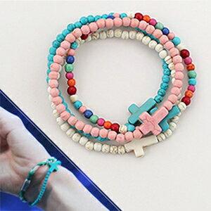 VIXX Leo Ken 同款繽紛色原石十字串珠彈力手環