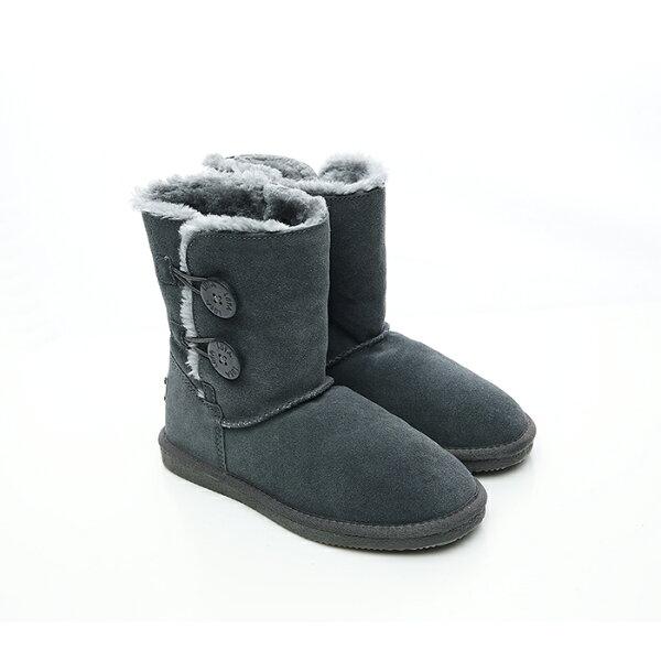 2MUCH鈕釦真牛皮短筒雪靴-灰色(37-40)