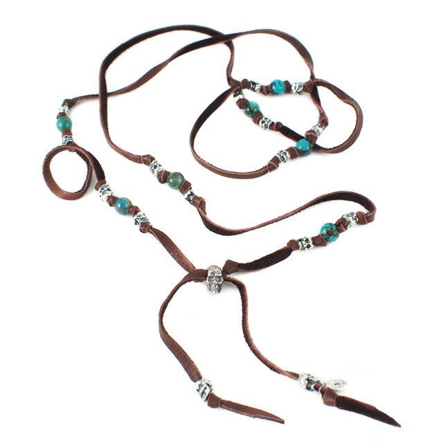 【海外訂購】【M.Cohen】多圈式銀色骷髏綠松石皮革手環(MC-B-10101-Brown  0616600013) 0