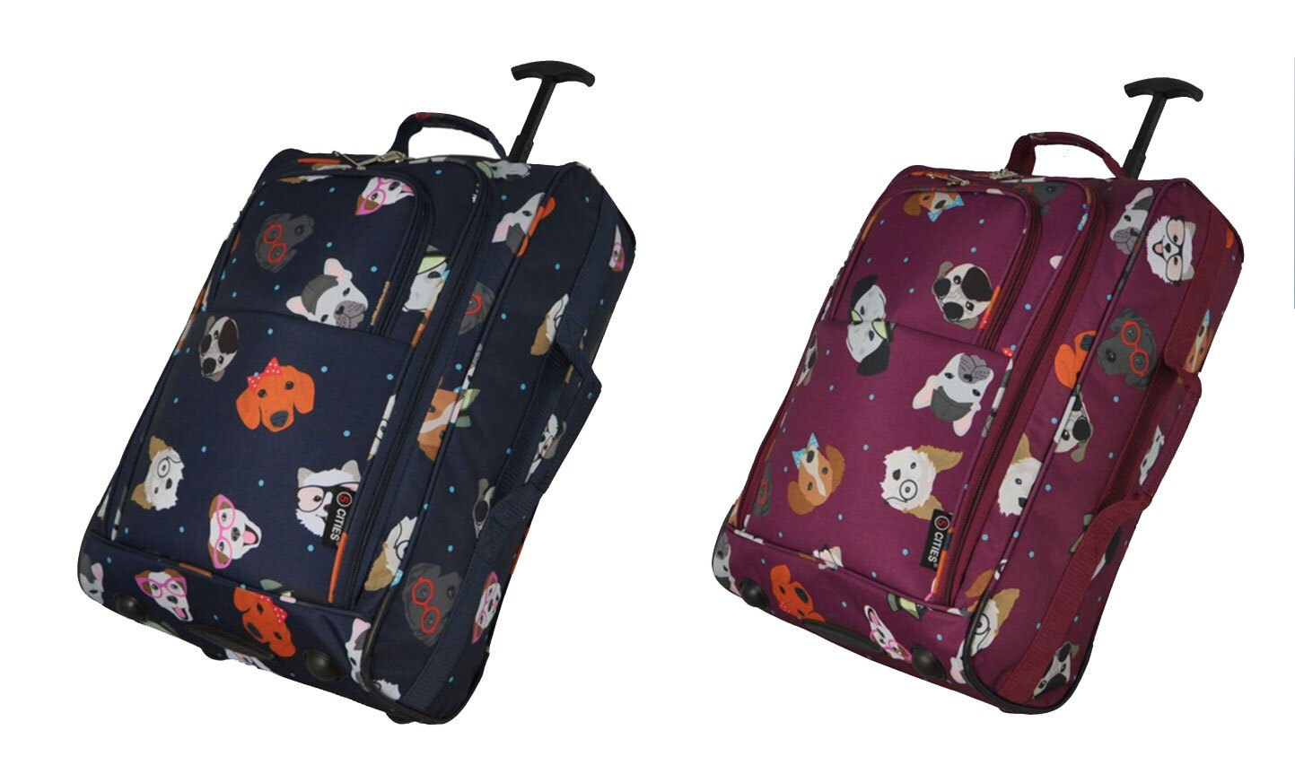 Wheeled Cabin Hand Luggage Dotty Dogs 21 Holdall Travel Bag