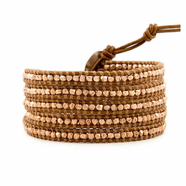【現貨商品】【CHAN LUU】玫瑰金塊珠棕紅色皮繩手環/5圈(CL-BS-2095-Henna  05009000H5) 0