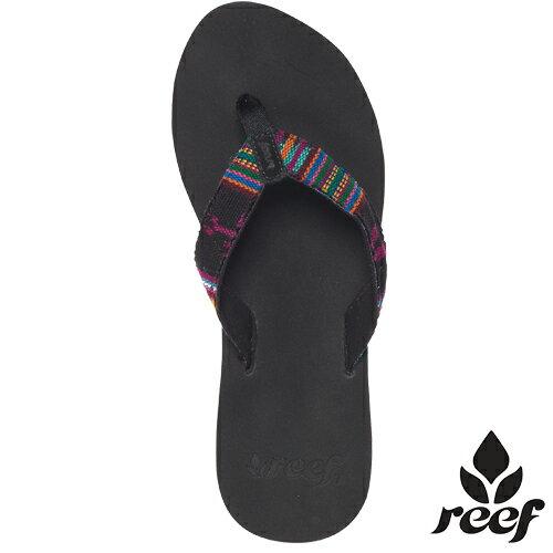 ~專區全面58折↘~REEF瓜地馬拉 編織織帶麂皮鞋面女款人字拖.黑 彩