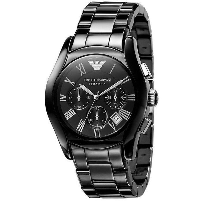 【ARMANI亞曼尼】經典陶瓷三眼計時腕錶\情侶款(AR1400\AR1401)-黑 1