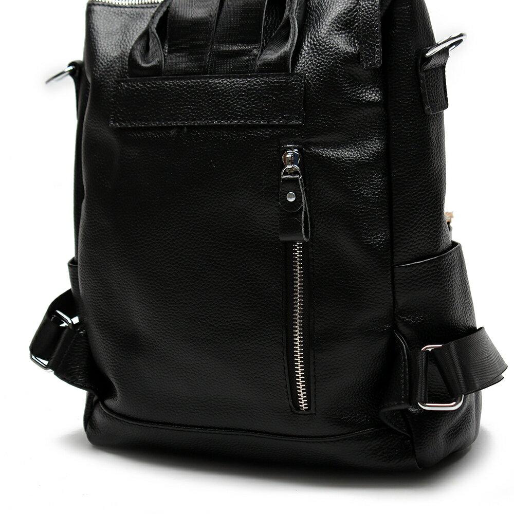 【BEIBAOBAO】韓劇同款時尚真皮後背包(時尚黑) 3