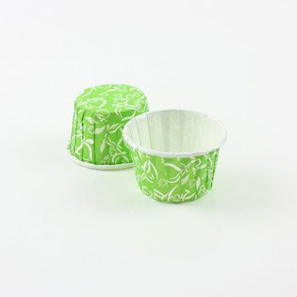 瑪芬杯、杯子蛋糕、捲口杯 PET3830-13 綠底桃紋(100pcs/包)