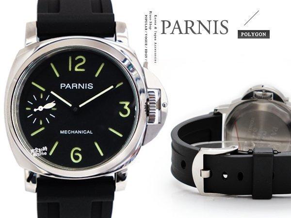 【完全計時】手錶館│ PARNIS 典軍錶風 風尚九點小秒 手動上鍊/手上鍊PA3006-1 背鏤空 機械錶 鎖式龍頭