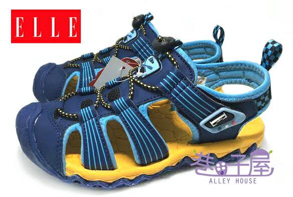 【巷子屋】ELLE 男童寬楦護趾機能運動涼鞋 [50206] 藍 超值價$398