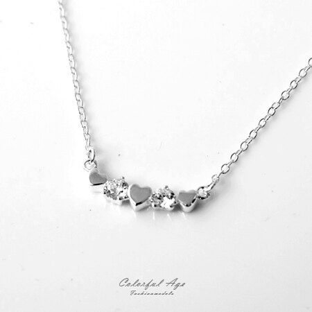 項鍊 甜美愛心水鑽925純銀抗過敏頸鍊項鍊 可愛女孩約會必備單品 柒彩年代【NPB7】 0