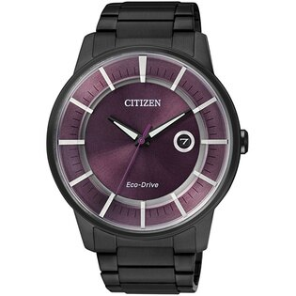 CITIZEN星辰AW1264-59W炫黑潮流光動能腕錶/紫面42mm